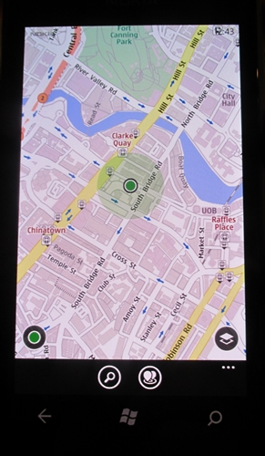 A snapshot of the Nokia Maps app (requires working data connection).