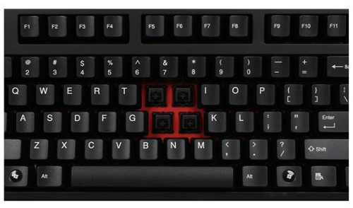 The keyboard has a red metal inner chassis.