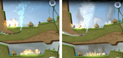 Take a close look at both basic version (left) and enhanced version (right) for the Tegra 3 devices of a game called Sprinkle. You can clearly seen the more realistic texture of both smoke and water in the enhanced version.