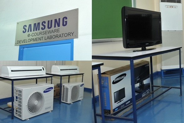 Some of the Samsung inverter air conditioning units and LED TVs that were donated to DBTC's TVET laboratory.