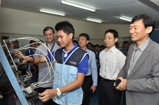 A TVET student performing a hands-on demonstration before the officials of DBTC and SEPCO.
