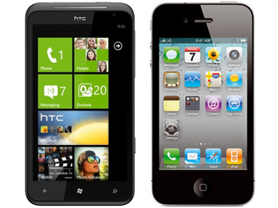 Seven apps can be seen at a glance on WP7's Start screen, while 20 apps can be seen on iOS.