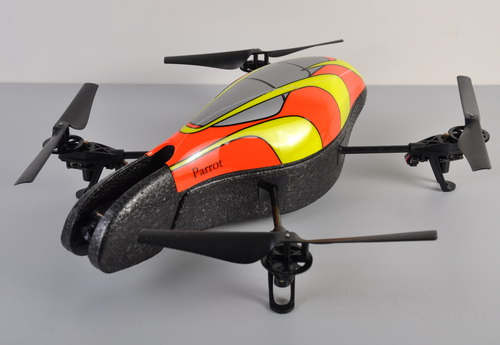 Here's the AR.Drone with its default cover, which is meant to be used outdoors. The cover can be changed and personalized, as many owners have done. You can see the examples on the AR.Drone website.