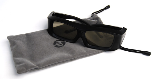 HP includes a nice suede carrying pouch (that doubles up as a lens cleaner) with its 3D Active Shutter glasses.