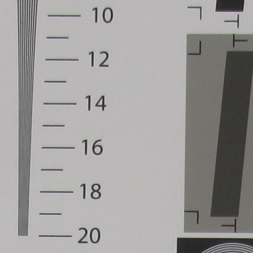 The camera resolved 1,600 LPH (lines per picture height) vertically according to our resolution chart.