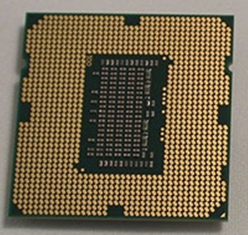 The Lynnfield CPU with its LGA1156 packaging.