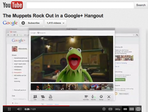Kermit and his merry Muppets rocking to the beat with Google+ Hangouts (Source: YouTube)