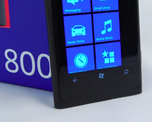 Including the required  shortcuts for the Windows Phone OS means you get a smaller 3.7-inch AMOLED display on the Lumia 800. On the bright side, that screen size is still comfortable to work with.