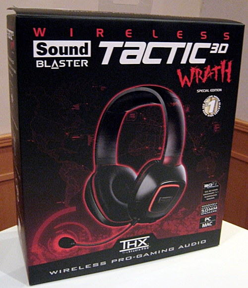The retail box for the Tactic3D Wrath wireless gaming headset is a sharp departure from the hard plastic clam shell packaging of the Tactic3D Sigma. The Tactic3D Sigma also comes with a USB dongle for wireless transmissions when the headset is connected to a PC or Mac.