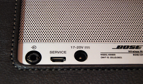 At the back of the speaker you will find a 3.5mm port, micro-USB port and power jack.