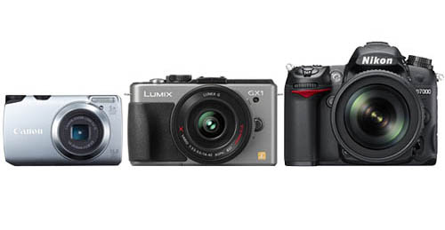 (From left to right, not to scale) A digital compact camera, a mirrorless system camera and a DSLR camera.