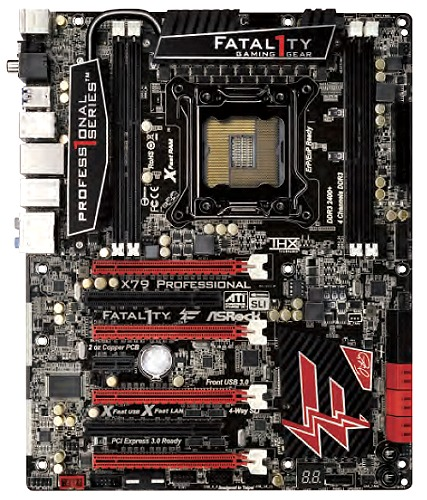 The X79 Fatal1ty Professional sports a striking red and black color scheme that is synonmous with the Fatal1ty series. This board strikes a menacing look with its PCH heatsink emblazoned with an angry thunderbolt - one of the signature features of a Fatal1ty product.