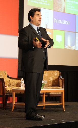 "Microsoft Asia Pacific Vice President, Alvaro Celis delivering his speech, ""The Asia Pacific Hot Spot"""