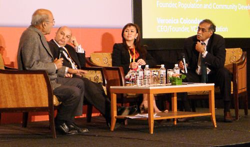 Panelists (from left) Mechai Viravaidya, Founder of the Population and Community Development Association (PDA), Thailand; Mike Usmar, CEO of the Computer Clubhouse Trust, New Zealand and Pacific Region; and Veronica Colondam, CEO and Founder of the Yayasan Cinta Anak Bangsa (YCAB) Foundation, Indonesia discussing the various ways technology can improve realize opportunities for youths, as moderator Akhtar Bashah, Senior Director of Microsoft Global Community Affairs looks on