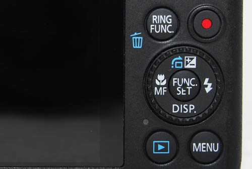 Besides the dedicated controls set to the directions of the d-pad, the Func. button in the middle calls up an overlay of settings on the LCD.
