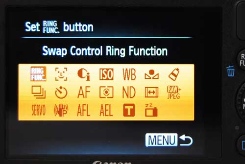 The Ring Func. button can be customized to trigger any of these commands.