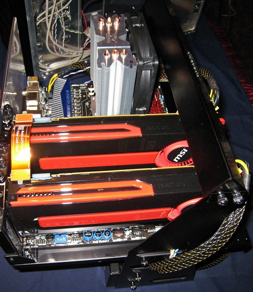 A similar setup to showcase the CrossFire environment of the pair of MSI 7970 graphic cards. The AMD FX-8150 Bulldozer cooler is the Xigmatek Gaia-SD1283, an air-cooled heatsink with an attached 120mm fan. An additional 120mm fan can be attached on its opposite side.