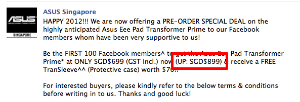 Unfortunately, the pre-order special deal is no longer available, so it's back to the usual price of S$899 (Source: ASUS Singapore Facebook page)