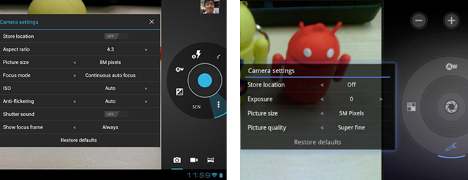 More camera controls are now available on Android 4.0 (left).