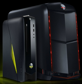 Seen here is the new slim and sleep Alienware X51 'gaming' desktop compared to their conventional bulkier powerhouse machines.