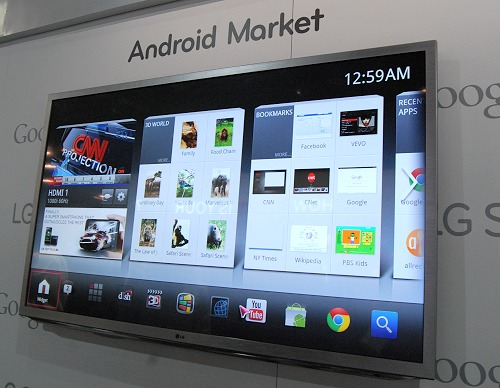 The new user interface using the Google TV platform has semblances to LG's own Smart TV platform.