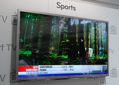 LG chose to showcase a sports channel from one of its listings to show off the Google TV's smooth streaming.