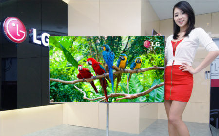 The 55-inch OLED TV on its long floor standing base.