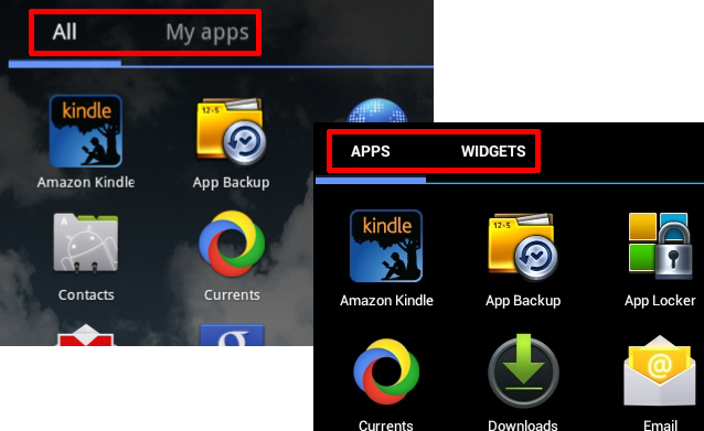 Honeycomb (left) only had apps listed within the main menu, while Ice Cream Sandwich (right) consolidated both apps and widgets within the same menu.