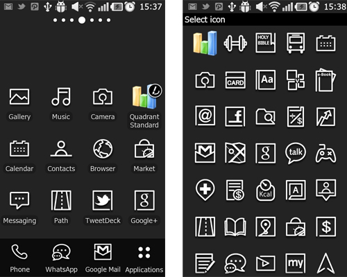 The fun is in editing icons of your downloaded apps to match the black and white theme on the Prada phone's user interface.