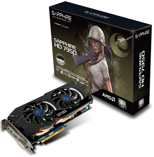 "Bringing up the rear is the Sapphire HD 7950 3GB OC GDDR5 which features an overclocked Tahiti GPU rated at 900MHz (a 12.5% increase over its default rated clock speed of 800MHz). We would love to add the phrase ""That's More Like It"" to its OC label! This puts it on par with the ASUS Top edition card mentioned above."