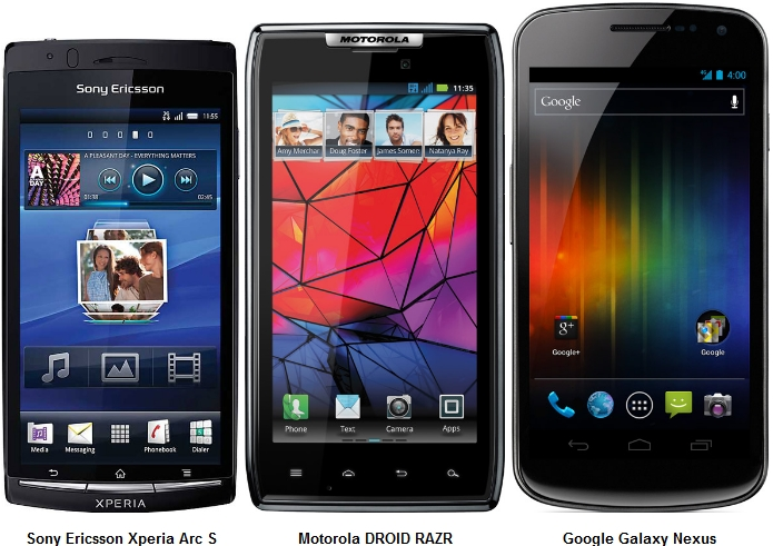 The Sony Ericsson Xperia Arc S comes with a 4.2-inch touchscreen; the Motorola Droid Razr comes with a 4.3-inch screen; the Google Galaxy Nexus comes with a 4.65-inch screen.
