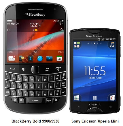 The BlackBerry Bold 9900 comes with a 2.8-inch touchscreen while the Sony Ericsson Xperia Mini comes with a 3.0-inch touchscreen.