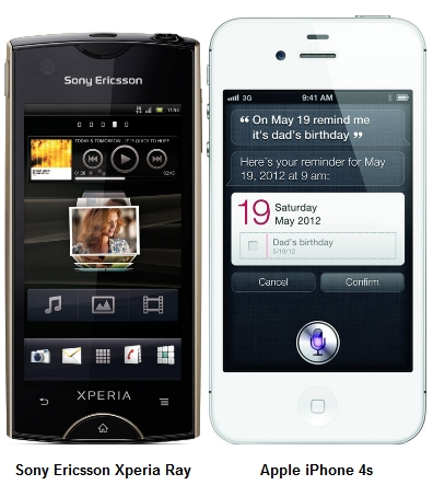 The Sony Ericsson Xperia Ray comes with a 3.3-inch touchscreen; the Apple iPhone 4S comes with a 3.5-inch touchscreen.