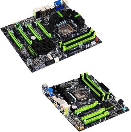 The G1.Sniper 3 series motherboards - the board on top is the full-size ATX G1.Sniper 3 while one at the bottom is the G1.Sniper M3, the first microATX form factor board from the G1.Sniper series.