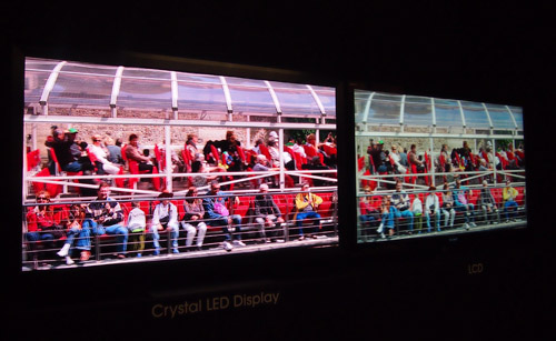 The Crystal LED display (left) seemingly has a warmer hue than conventional LCD displays.
