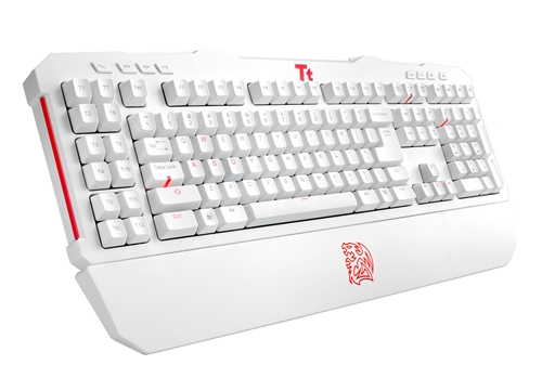 Tt eSports Meka G-Unit Combat White gaming keyboard.