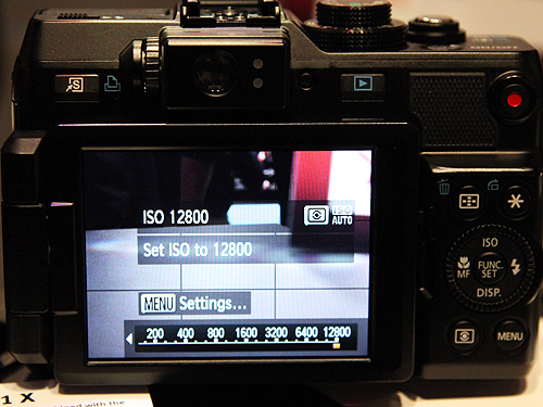 You can set the ISO rating up to a whopping 12800 on the PowerShot G1 X. However, noise will set in after ISO 3200.