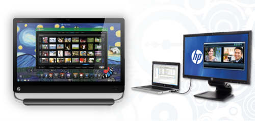 Aside from the Omni27 is the new HP Compaq L2311c monitor, shown here with a laptop attached