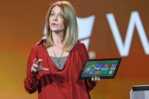 Microsoft's Tami Reller, chief marketing officer, Windows and Windows Live, demonstrates touch capabilities on Windows 8 during the company's keynote at CES 2012.