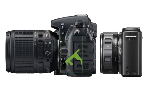 Traditional DSLR cameras have a mirror box component, which is absent from mirrorless system cameras, hence the name 'mirrorless' and their smaller sizes (illustration not to scale).