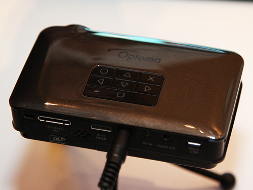 The Optoma PK320 pico projector.