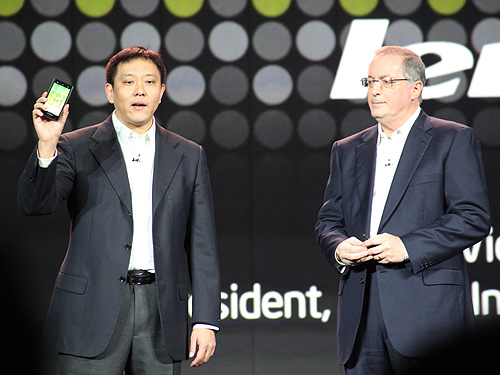 Liu Jun, Lenovo senior vice president and president of Mobile Internet and Digital Home, joined Intel President and CEO Paul Otellini onstage to debut the Lenovo K800 smartphone based on Intel technology.