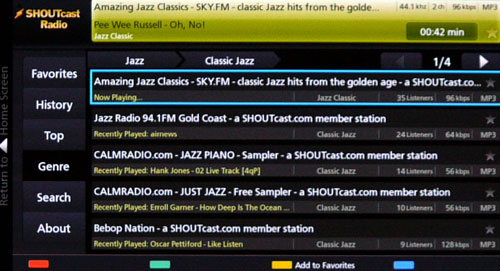 Internet radio services such as ShoutCast are handy to have around. With a wide selection of music genres and a multitude of radio stations, they are one of the easiest ways to stream your favorite tunes into your living room.