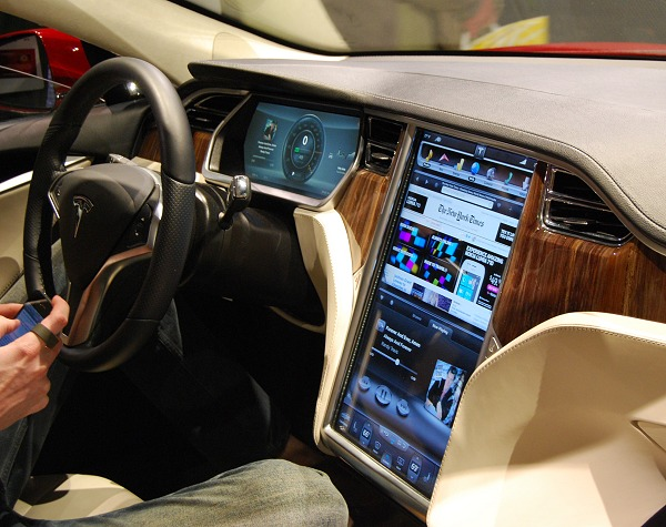 Shown here is the dashboard and main console of the Tesla S super car. It uses dual Tegra processors to power the digital instrument cluster and the 17-inch touchscreen infotainment system respectively. Perhaps in another 10 years, this could become a norm across most cars.