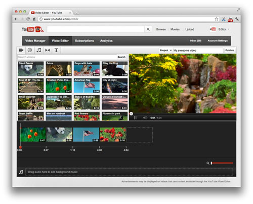 Video Editor: The new look from YouTube with an added timeline. (Image credit: YouTube)