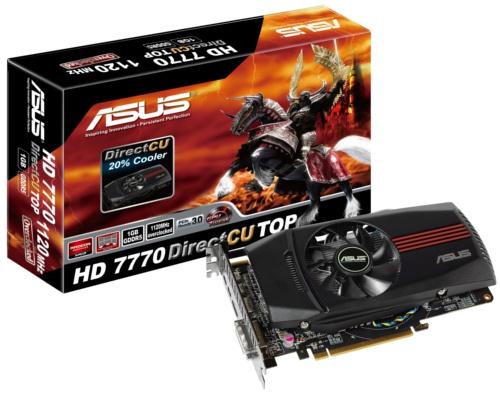 ASUS HD 7770 DirectCU TOP (HD7770-DCT-1GD5)<br> Core Clock: 1120MHz <br> Memory Clock: 4600MHz