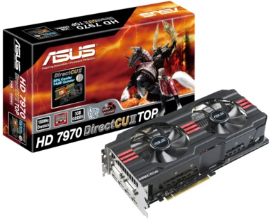 DirectCU II powered TOP edition ASUS Radeon HD 7970 cards are coming to town shortly.