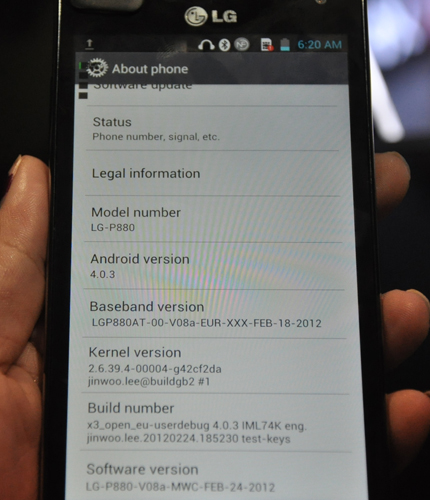 Yes, the LG Optimus 4X HD (or LG P880) runs on the latest Android 4.0 build.
