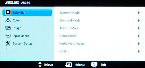 There is a total of six video preset modes.