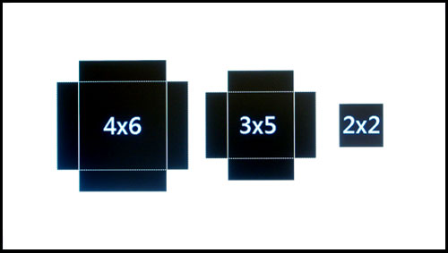 4 x 6-inch, 3 x 5-inch, and 2 x 2-inch.